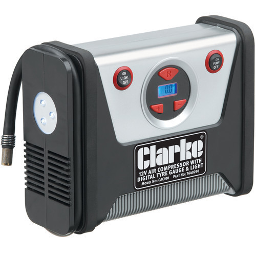 CLARKE CAC100 12v DC Air Compressor With Work Light Inflates Tyres Airbeds balls