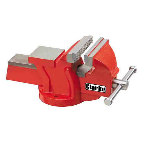 "CLARKE CV4RB METALWORK FIXED BENCH VICE 4"" 100mm RED"
