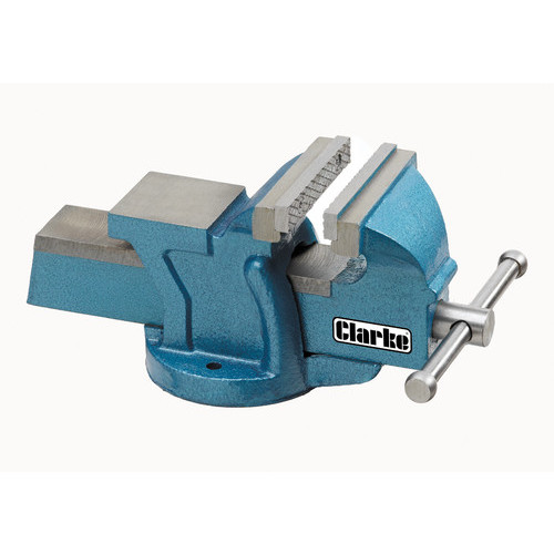 "CLARKE CV100B METALWORK FIXED BENCH VICE 4"" 100mm BLUE"