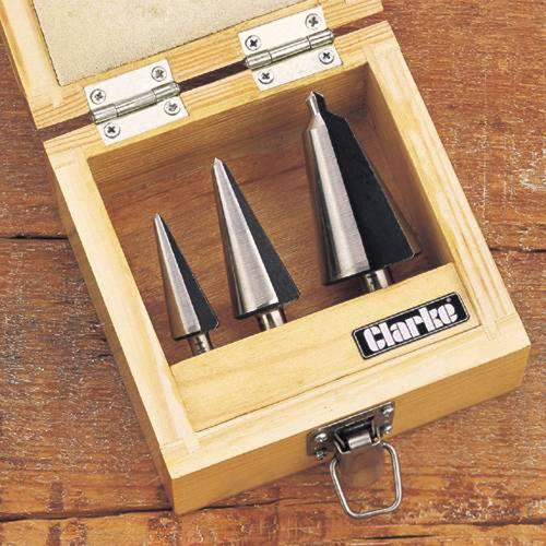 Clarke CHT382 3 Piece HSS Cone Bit Set 3 - 30 mm wooden presentation case
