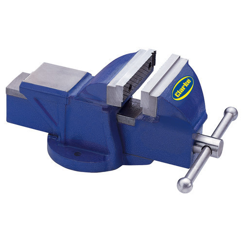 "CLARKE CV125BL Metalwork Fixed Bench Vice 5"" 125mm Jaw deep 50mm open 100mm Blue"