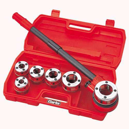 CLARKE CHT392 Plumbers Pipe Threading Kit 6 BSP Die Heads + Reversible Ratchet