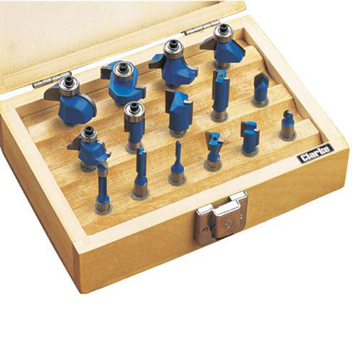 "CLARKE CHT362 15 Piece Router Bit Set 1/4"" Shank + wooden case"
