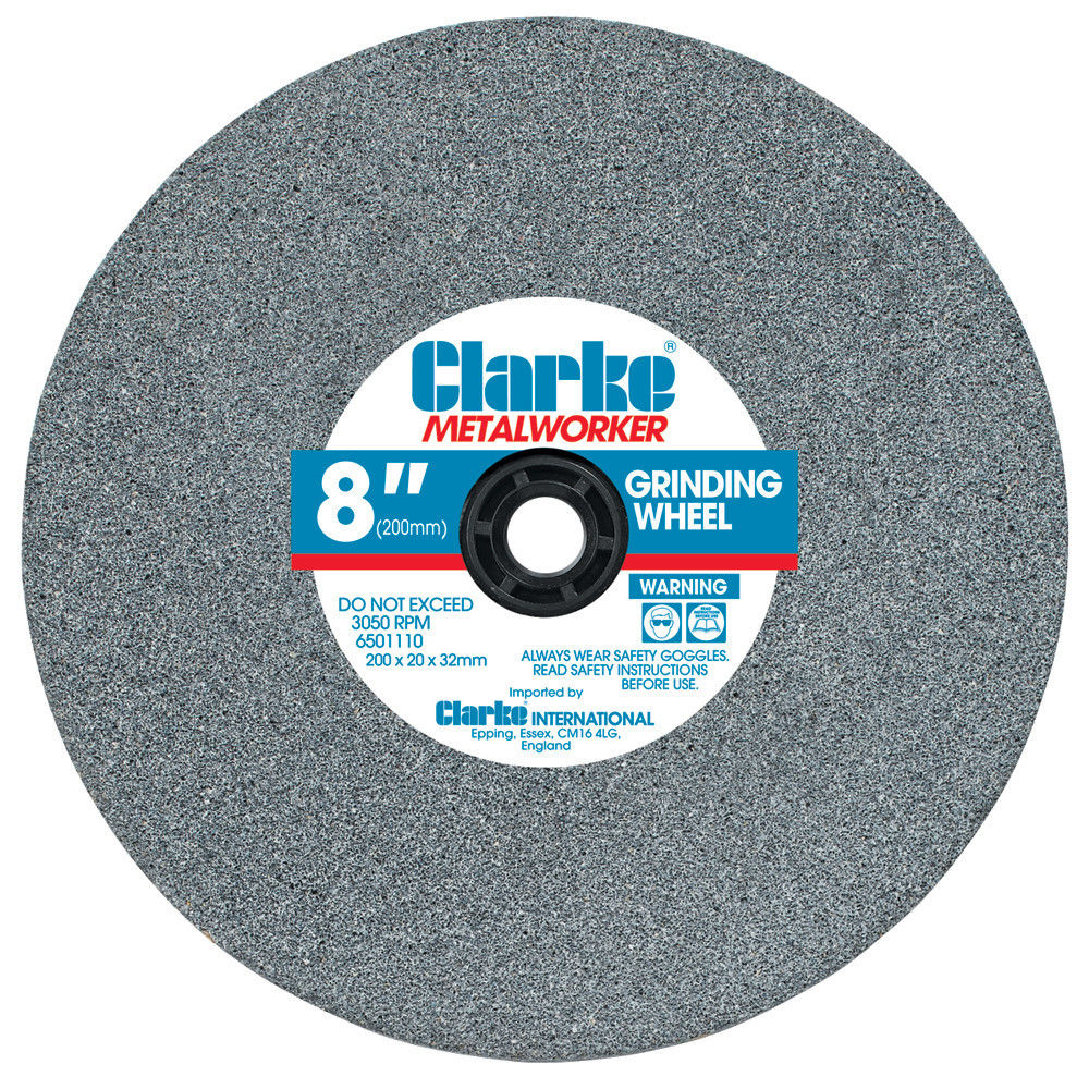 "Clarke 6501040 Fine Grinding Wheel 8"" 200mm Diameter 3/4"" 20mm Width 16mm Bore"