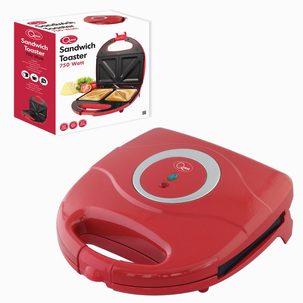 4 slice toasted non stick sandwich maker in red bml35430. Black Bedroom Furniture Sets. Home Design Ideas