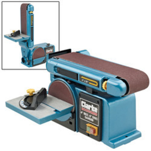 Clarke CS4-6D Belt And Disc Sander 370 Watt 230V belt tilts & locks at any angle