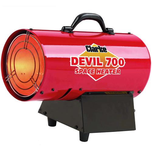 Clarke Devil 700 Propane Fired Space Heater output 50,000 Btu /hr (14.6 kW) 5.3k