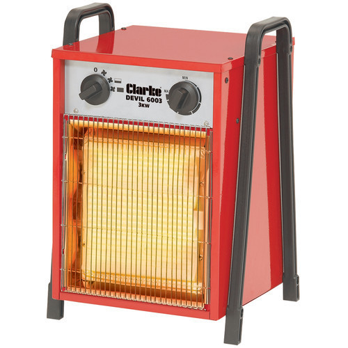Clarke Devil6003 Industrial 3KW Electric Fan Heater 512 cu m h max airflow 5.5kg