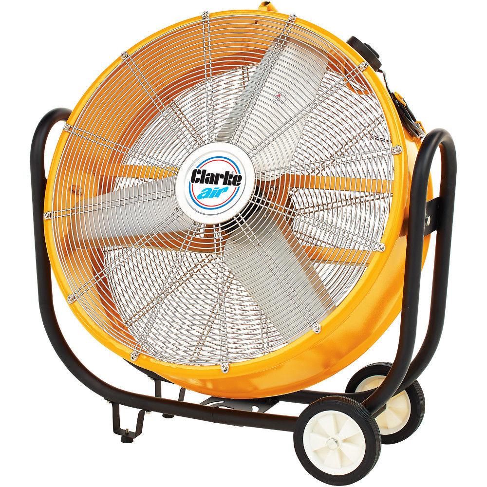 Clarke CAM110 30? Drum/Barrel Fan 110V 350W 3 speed Fan tilts 300° Weight 28.5kg