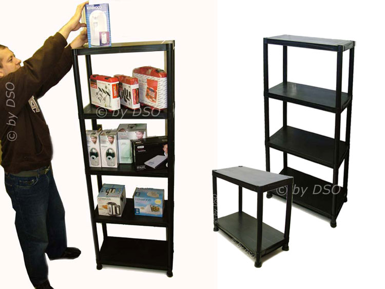 5 niveaux plastique noir tag re stockage unit 100kgs. Black Bedroom Furniture Sets. Home Design Ideas