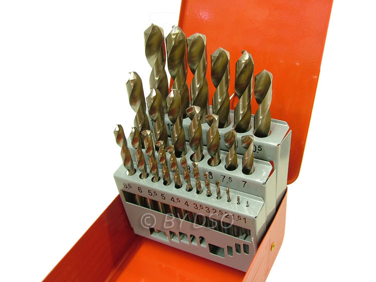 BERGEN 25 Piece HSS Drill Bit Set 1mm - 13mm in Metal Case BER2521