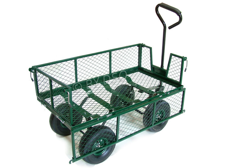 Green Blade Large 4 Wheel Garden Cart Trolley With Fold