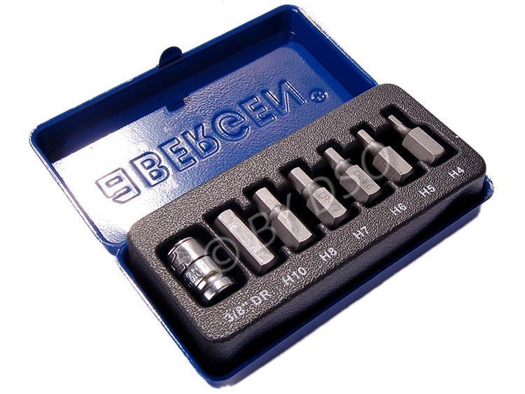 BERGEN 7 Pc HEX Bit Set 3/8 inch Drive H4 - H10 in Metal Case BER1192