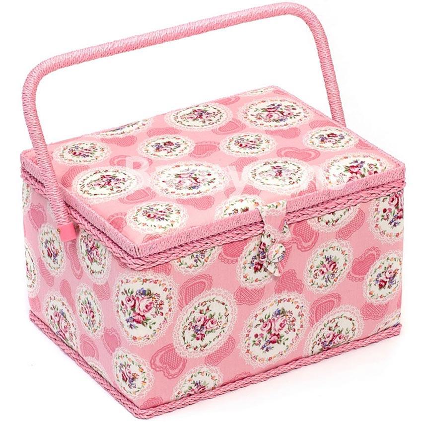 large couture bo te tissu panier avec poign e plateau rose cameo floral. Black Bedroom Furniture Sets. Home Design Ideas