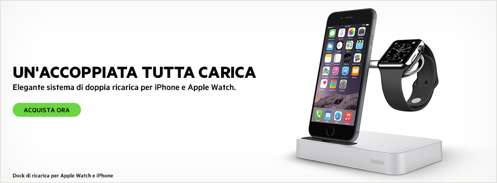 UN'ACCOPPIATA TUTTA CARICA. Dock di ricarica per Apple Watch e iPhone.
