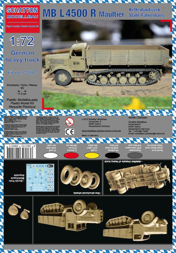 Schatton Modellbau 1/72 MB L4500 R Maultier German Heavy Truck # 72007