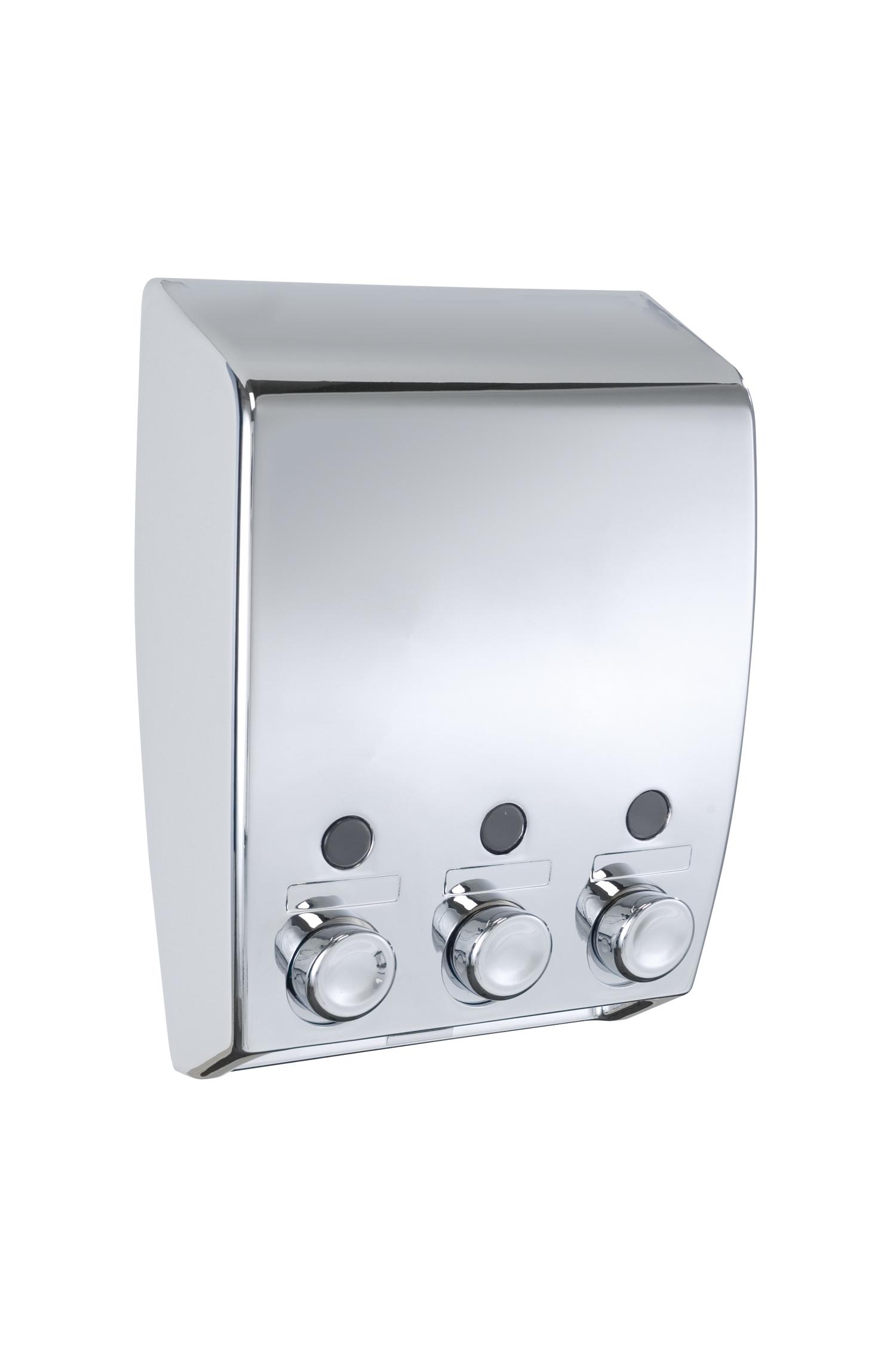 Wenko chrome varese wall mounted triple soap dispenser 19 - Distributeur savon douche mural ...