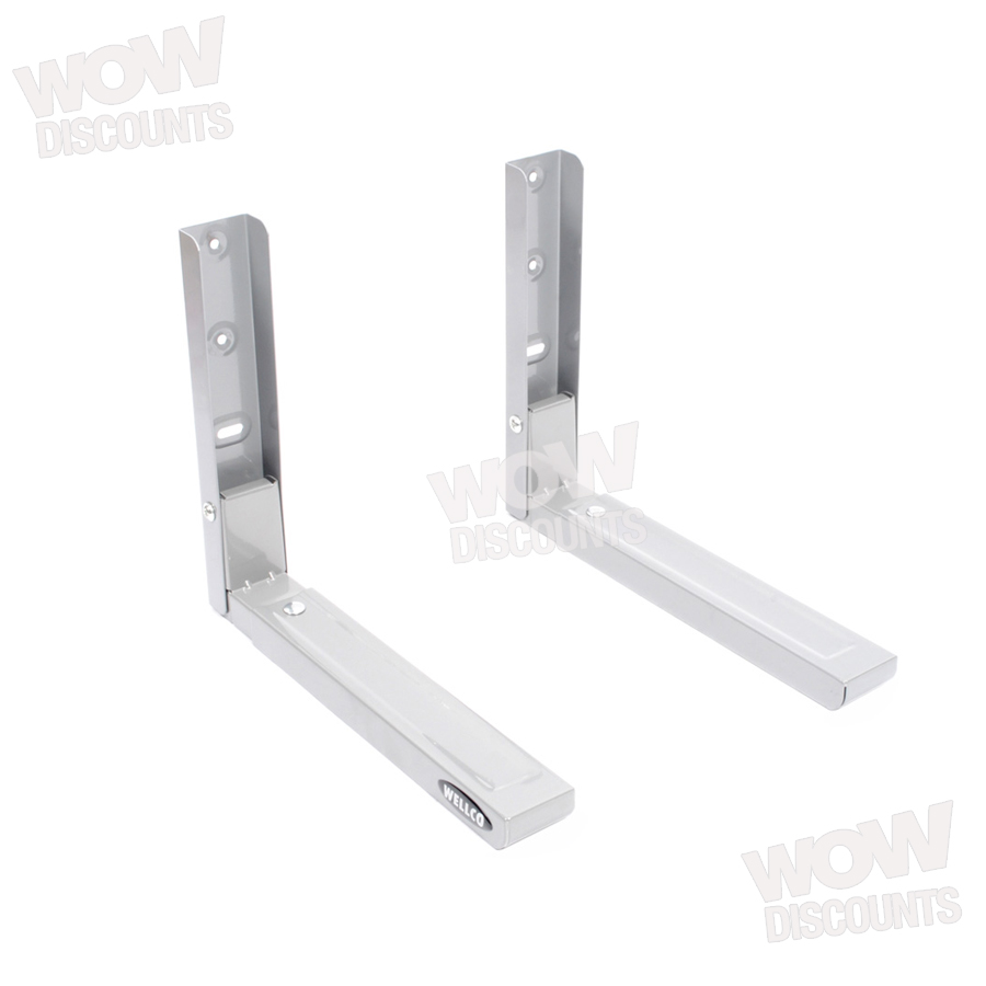 2 Universal Silver Microwave Wall Mounting Holder Brackets