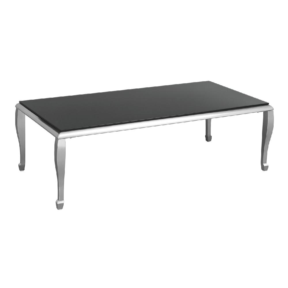 Coffee table black tempered glass nickel plated legs for Tempered glass coffee table