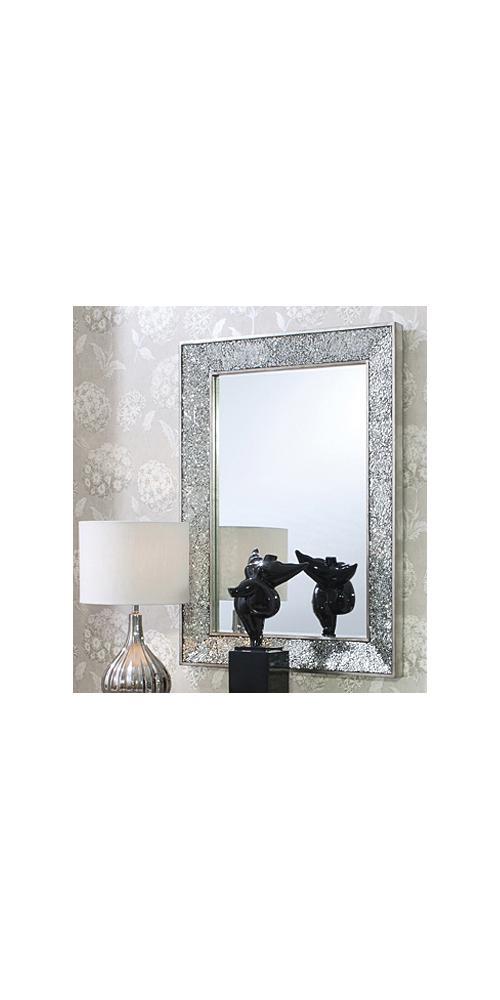 Modern silver crackle rectangular wall mirror hp020684 - Silver bathroom mirror rectangular ...