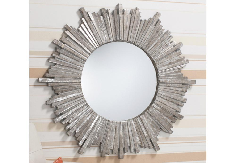 Modern Dramatic Starburst Wall Mirror In Artisan Silver