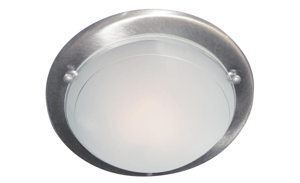 Ceiling Lights Cover Plates : Satin chrome metal flush ceiling light fitting with glass