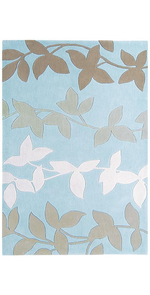 duck egg blue rug with brown leaf decoration hp021775 ebay. Black Bedroom Furniture Sets. Home Design Ideas
