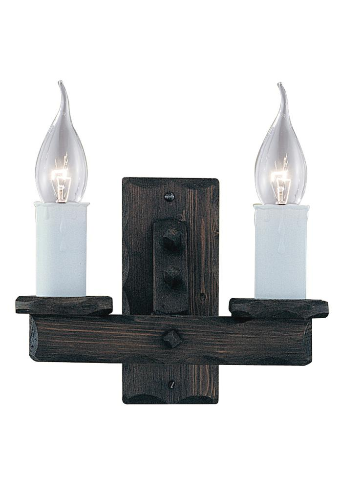 Traditional rustic wooden wall light fitting with white plastic candle bulb hold eBay