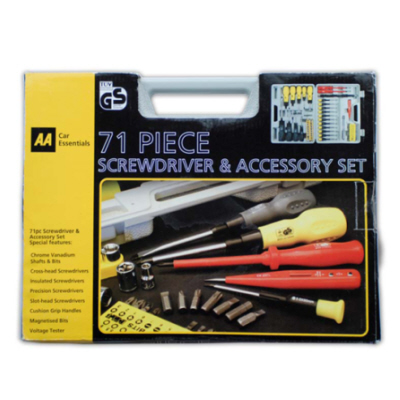 aa car essentials screwdriver and accessory tool set 70 pieces bits kit new. Black Bedroom Furniture Sets. Home Design Ideas