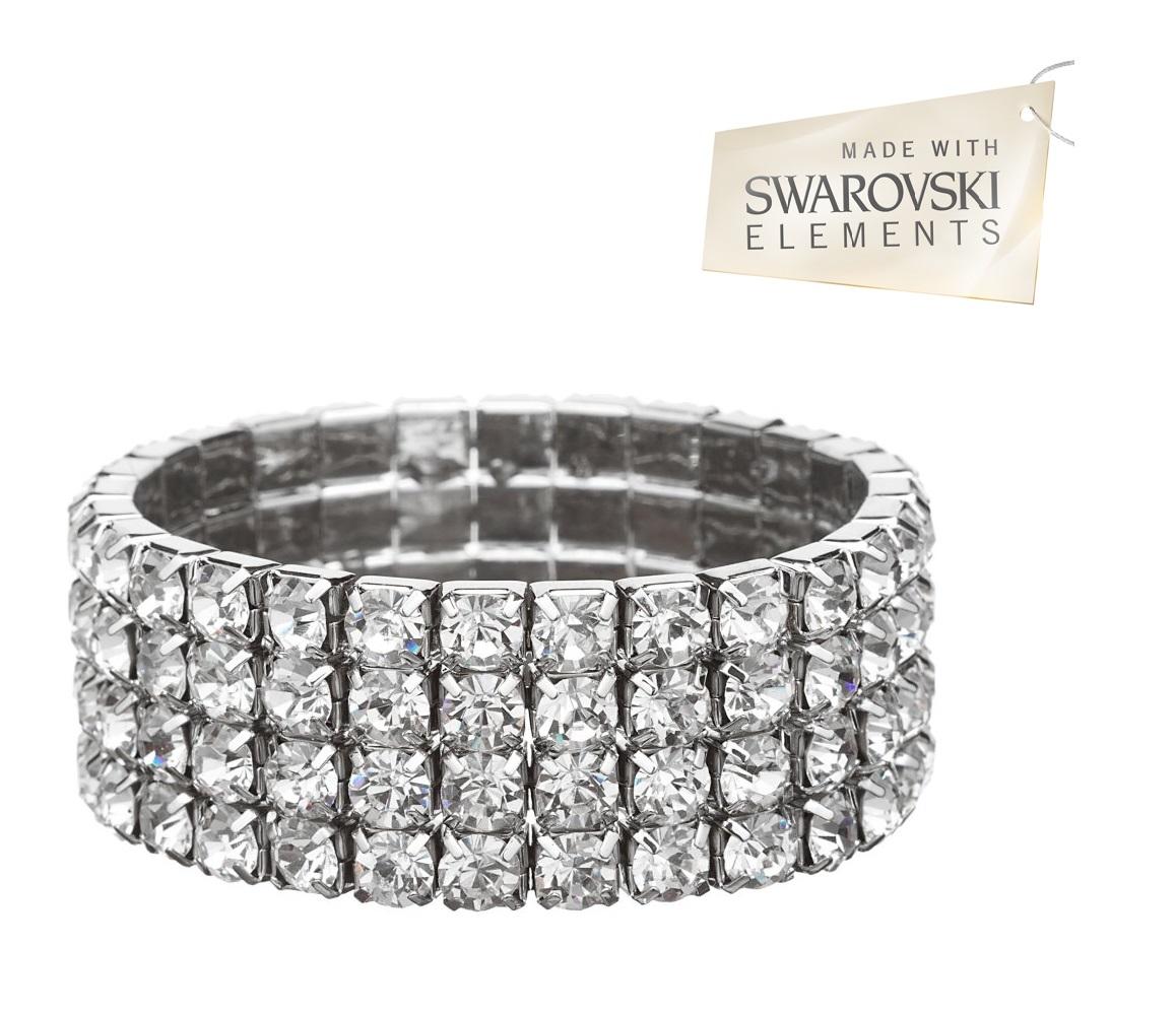 four row tennis bracelet made with swarovski elements. Black Bedroom Furniture Sets. Home Design Ideas