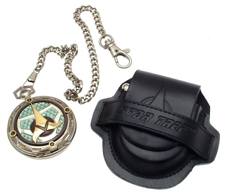Franklin Mint collectors quartz pocket watch Star Trek Klingon design with pouch