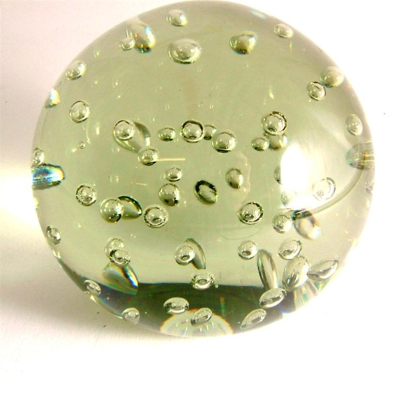 c1960-80 most probably whitefriars green bubbled paperweight.