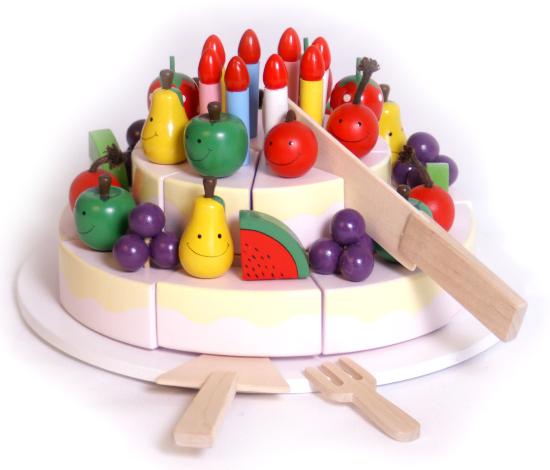 Birthday Cake Toy : Wooden happy birthday cake toy with platter knife fork and