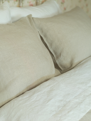 PILLOW CASE 65 x 65 cm NATURAL 100% LINEN WASHED BED LINEN NEW