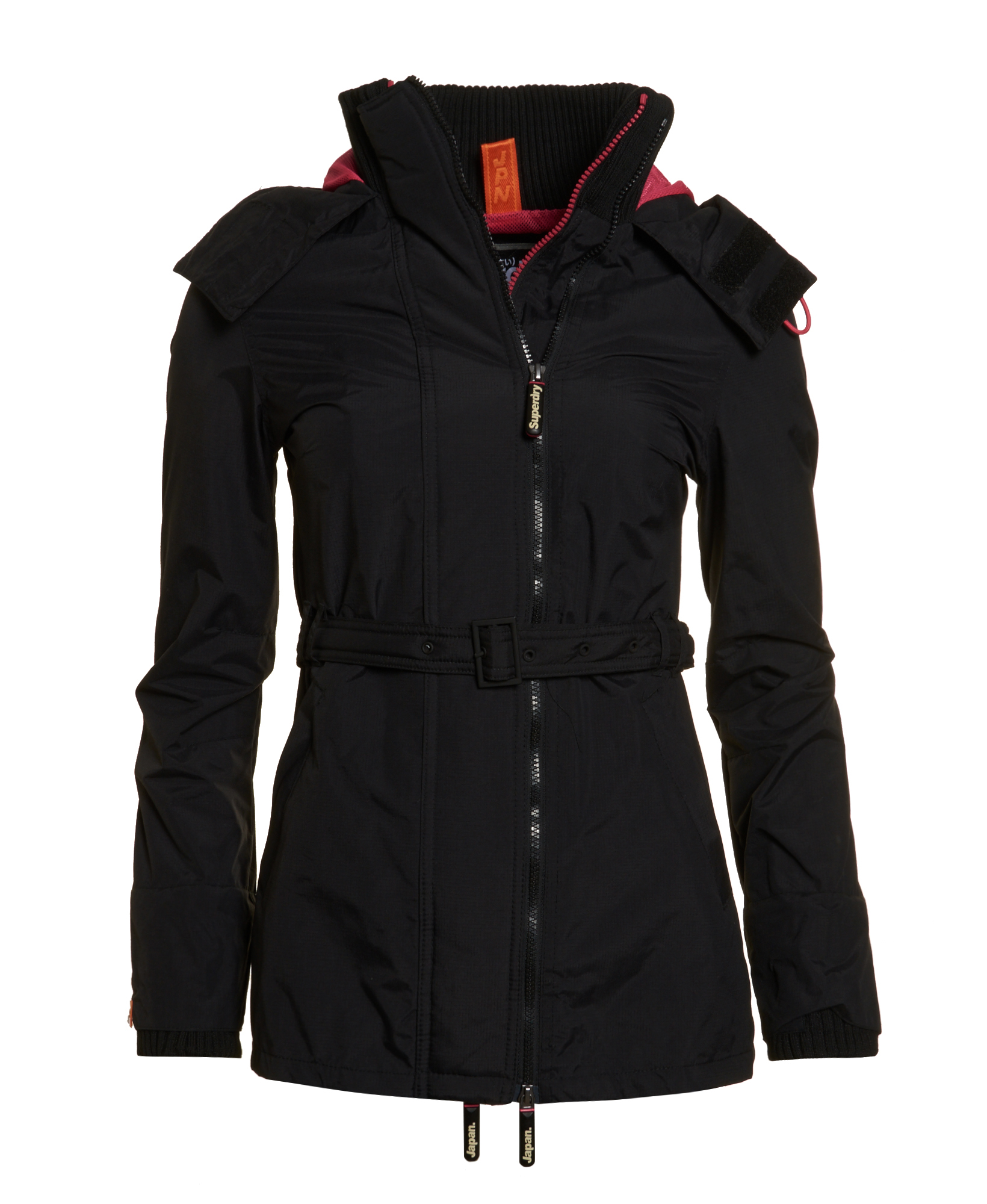 New Womens Superdry Pop Zip Wind Mac Jacket Black | eBay