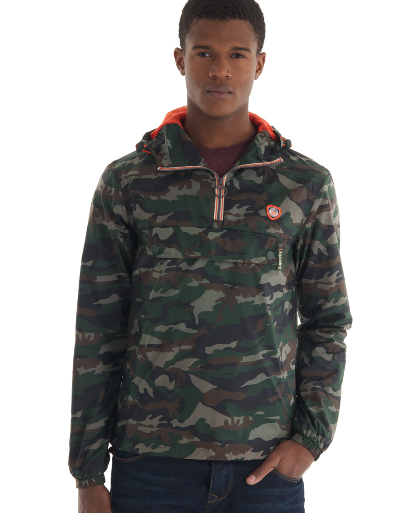 New Mens Superdry Overhead Cagoule Jacket New Light Camo Green TP