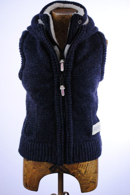 New Womens Superdry Unique Sample Premium Knitted Puffer Gilet Jacket Size Sm...