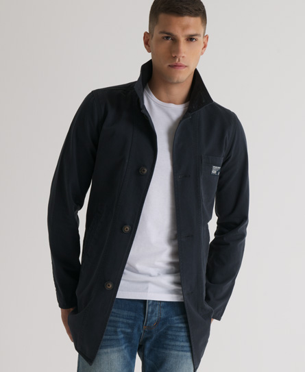 New-Mens-Superdry-Commodity-Trench-Jacket-Midnight-Navy-Blue