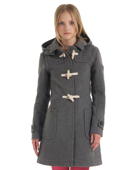 New Womens Superdry Classic Duffle Coat Dark Marl Grey | eBay