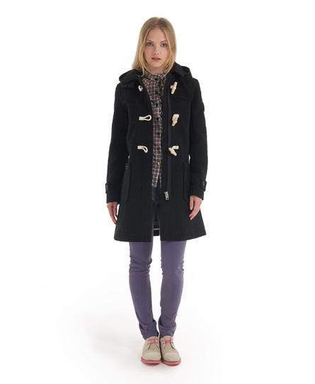 New Womens Superdry Classic Duffle Coat Black Marl | eBay