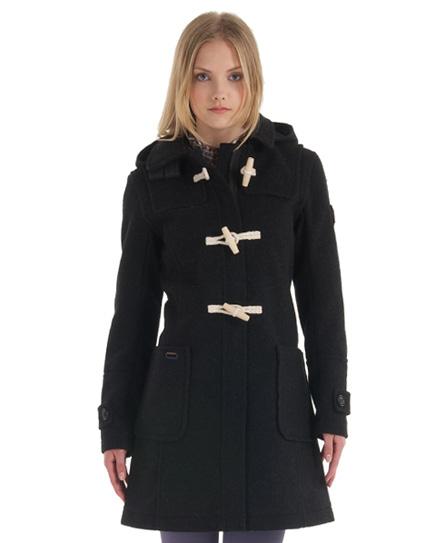 New Womens Superdry Classic Duffle Coat Black Marl BFJ | eBay