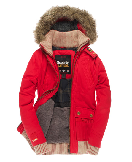 New Womens Superdry Alpine Bomber Jacket Red