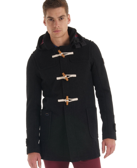 New-Mens-Superdry-Classic-Duffle-Coat-Black-Marl