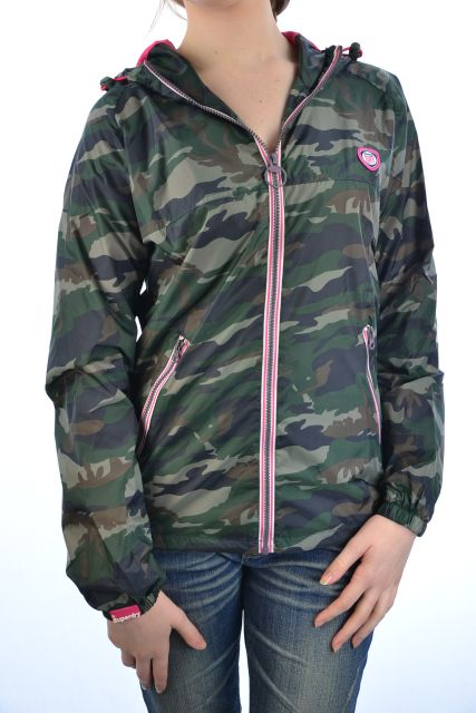 New-Womens-Superdry-Zip-Through-Cagoule-Jacket-New-Light-Camo-Green-VH
