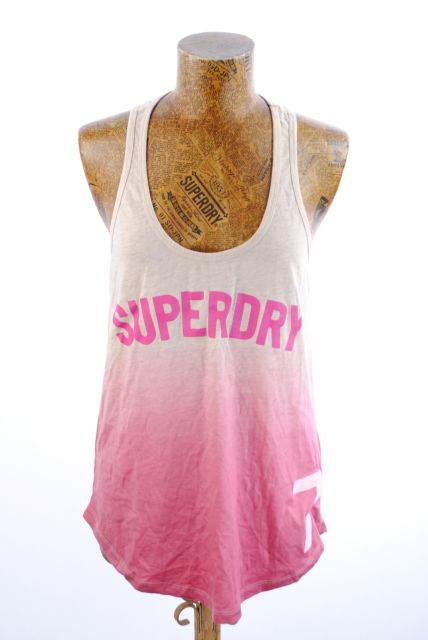 New Womens Superdry Unique Sample Dip Dye Vest Top Size Small Pink Dip Marl