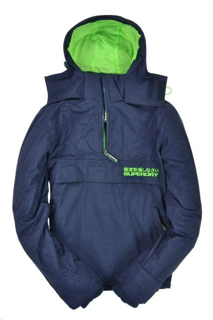 New-Mens-Superdry-Pop-Zip-Wind-Cagoule-Jacket-Nautical-Navy-TP