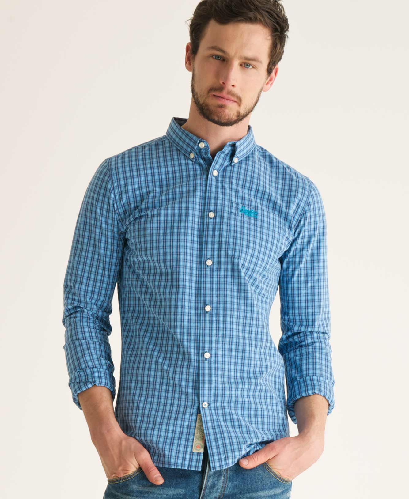New-Mens-Superdry-London-Button-Down-Shirt-Camden-Surf-Check-Blue-CVH-AB