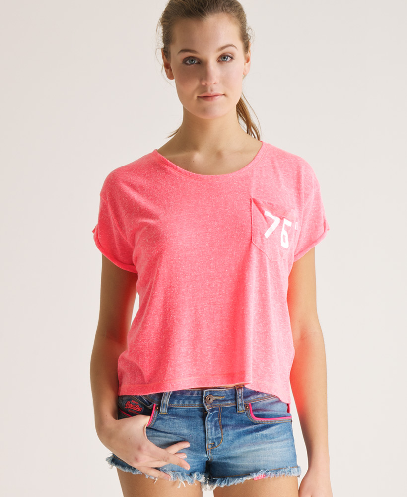 New womens superdry boardwalk t shirt top phosphorus coral for Coral t shirt womens