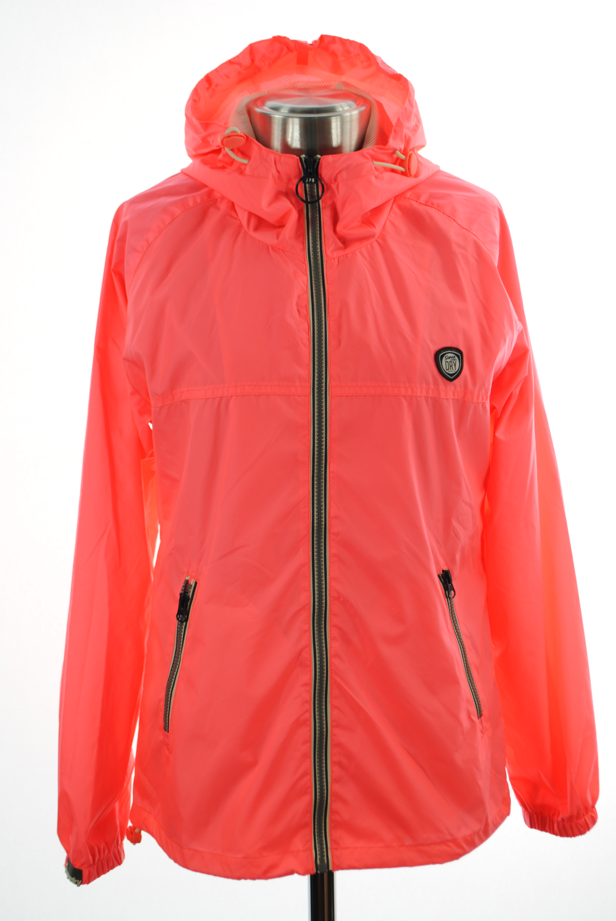 New Womens Superdry Zip Through Cagoule Jacket Pop Coral Pink AE
