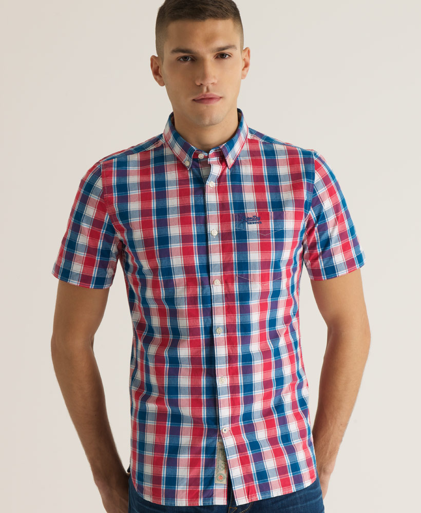 New-Mens-Superdry-London-Button-Down-Short-Sleeved-Shirt-Red-Hook-Check-CVH-AB